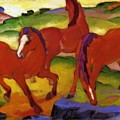 Grazing Horses Iv The Red Horses 1911 by Marc Franz