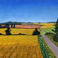 Great Bedwyn Wheat Fields Painting by Edward McNaught-Davis