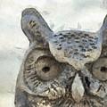Great Horned Owl Pencil by Edward Fielding