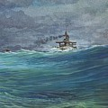Great White Fleet In A Squall by Stephen Bluto