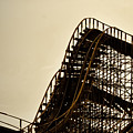 Great White Roller Coaster - Adventure Pier Wildwood Nj In Sepia Triptych 1 by Bill Cannon
