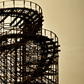 Great White Roller Coaster - Adventure Pier Wildwood Nj In Sepia Triptych 3 by Bill Cannon