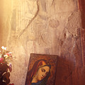 Greece. Lesvos. 16th Century Fresco And Virgin Mary Icon by Steve Outram