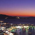 Greece Mykonos Harbor. Dusk by Steve Outram