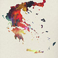 Greece Watercolor Map by Design Turnpike
