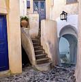 Greek Isle Street In Pyrgos Village, Santorini Island, Greece by Global Light Photography - Nicole Leffer