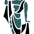 Greek Woman Holding Urn In Teal by Donna Mibus