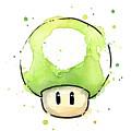 Green 1up Mushroom by Olga Shvartsur