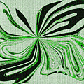 Green And Black Embroidered Butterfly Abstract by Debra Lynch