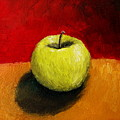 Green Apple With Red And Gold by Michelle Calkins
