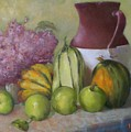 Green Apples And Hydrangeas   Copyrighted by Kathleen Hoekstra