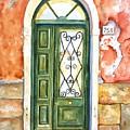 Green Door In Venice Italy by Carlin Blahnik CarlinArtWatercolor