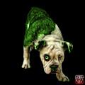 Green English Bulldog Dog Art - 1368 - Bb by James Ahn
