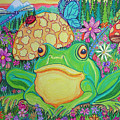 Green Frog With Flowers And Mushrooms by Nick Gustafson