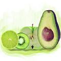 Green Fruits Watercolor by Svetlana Foote