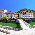 Green Ljubljana Riverfront Panoramic View by Brch Photography