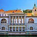 Green Ljubljanica Riverfront In Ljubljana by Brch Photography