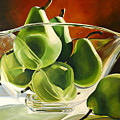 Green Pears In Glass Bowl by Toni Grote