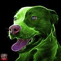 Green Pit Bull Fractal Pop Art - 7773 - F - Bb by James Ahn