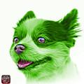 Green Pomeranian Dog Art 4584 - Wb by James Ahn