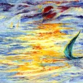 Green Sail At Sunset by Lily Hymen