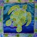 Green Sea Turtle Silk Painting by PattyMara Gourley