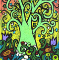 Green Tree With Purple Tulips by Genevieve Esson