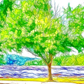 Green Trees By The Water 3 by Jeelan Clark