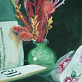 Green Vase With Open Book by Aleksandra Buha
