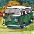 Green Vw Bus by Clara Sue Beym