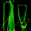 Green Wine Glasses And A Bottle by   larisa Fedotova