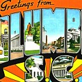 Greetings From Columbia South Carolina by Vintage Collections Cites and States