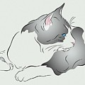 Grey And White Cat In Profile Graphic by MM Anderson