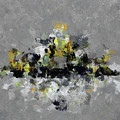 Grey And Yellow Abstract Cityscape Art by Inspirowl Design