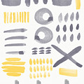 Grey And Yellow Shapes- Abstract Painting by Linda Woods