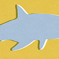 Grey and Yellow Shark by Linda Woods