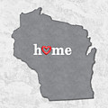 State Map Outline Wisconsin With Heart In Home by Elaine Plesser