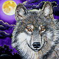 Grey Wolf And Full Moon by Karl Wagner