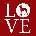Greyhound Love Red by Nancy Ingersoll