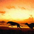 Greyhounds On Beach by Michael Tompsett