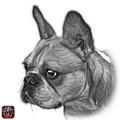 Greyscale French Bulldog Pop Art - 0755 Wb by James Ahn