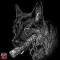 Greyscale German Shepherd And Toy - 0745 F by James Ahn