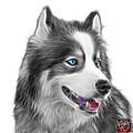 Greyscale Modern Siberian Husky Dog Art - 6024 - Wb by James Ahn