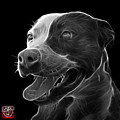 Greyscale Pit Bull Fractal Pop Art - 7773 - F - Bb by James Ahn