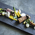 Grilled Pork Sour Cream And Vegetables On Modern Grey Slate by Jacek Malipan