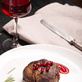 Grilled Steak Meat On The White Plate by Vadim Goodwill