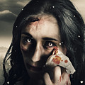 Grim Face Of Horror Crying Tears Of Blood by Jorgo Photography - Wall Art Gallery