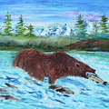 Grizzley Catching Fish In Stream by Betty McGregor