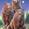 Grizzly Bears In Starry Night by Hans Droog