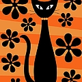 Groovy Flowers With Cat Orange And Light Orange by Donna Mibus
